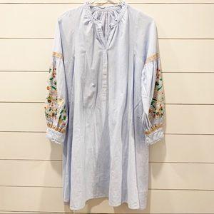 ANTIK BATIK Frida Stripe Embroidered Tunic Dress